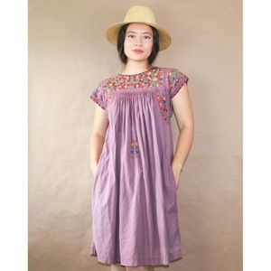(283) vtg 70s pakistan embroidered cotton dress